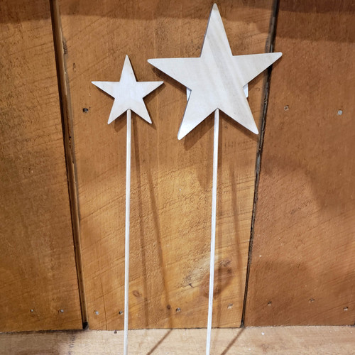 "6"" Wood Star on 13"" Stick - Natural Finish"