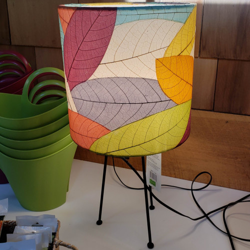Multi-Colored Real Leaf Tripod Drum Table Lamp