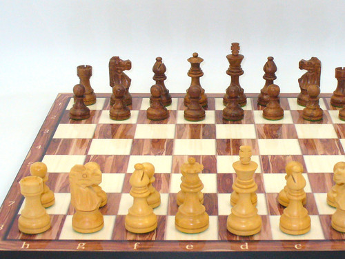 "Chess Set 3.5"" Kikkerwood French Knight on 17"" American Walnut Decoupage Board"