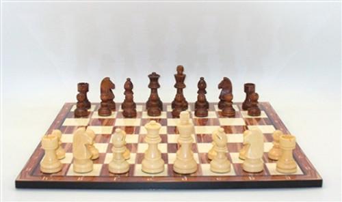 "Chess Set 3.5"" Brown German Knight Staunton Chessmen on American Walnut Chess Board"