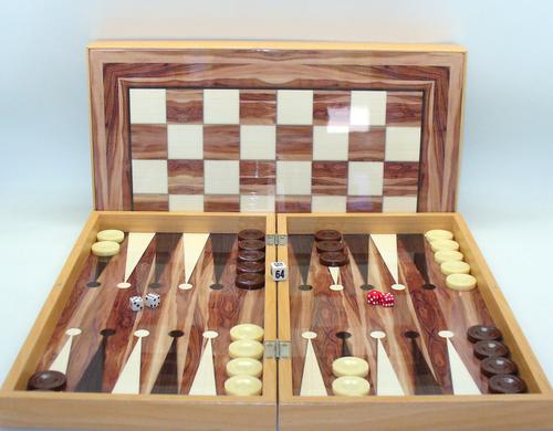 """Backgammon 19"""" American Walnut Decoupage"""