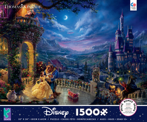 Beauty and the Beast Dancing in the Moonlight 1500pc Kinkade Disney box