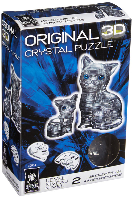 Cat & Kitten Black Crystal 3D Puzzle