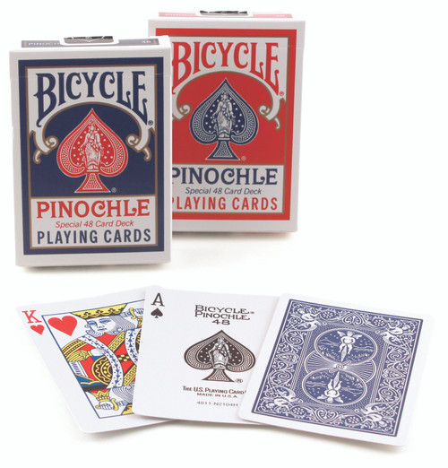 Image of Bicycle's Pinochle deck in boxes, in two different colors, with three example cards spread in front.