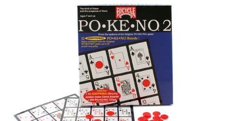 Image of Bicycle's Po-Ke-No 2 packaging with sample boards and chips