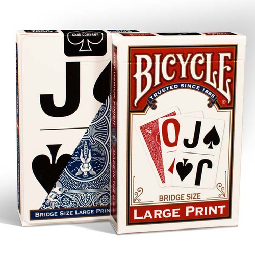 Image of Bicycle Large Print playing card deck packaging in red and blue
