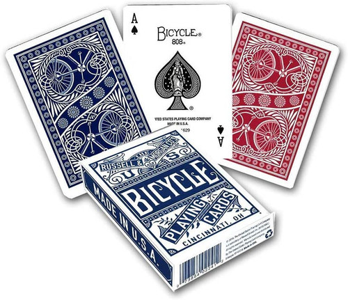 Image of Bicycle's chainless deck packaging and card backs in both blue and red