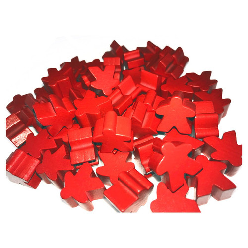 Red Wooden Meeples (50)