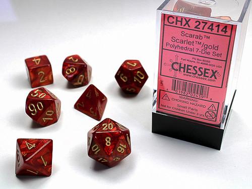 Scarab Scarlet/Gold  Dice Set