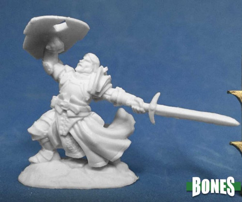 Image of Reaper's Sir Rathan Kranzhel, Human Fighter mini, front view