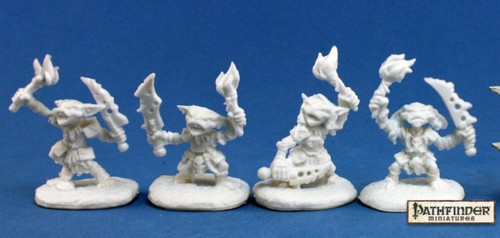 Image of the four unique Goblin Pyros minis from Reaper
