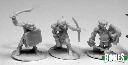 Image of Reaper's three different Goblin Skirmishers minis. Set comes with 2 of each