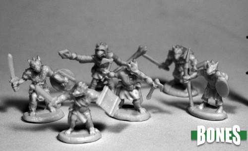 Image of the six different Kobold minis from Reaper
