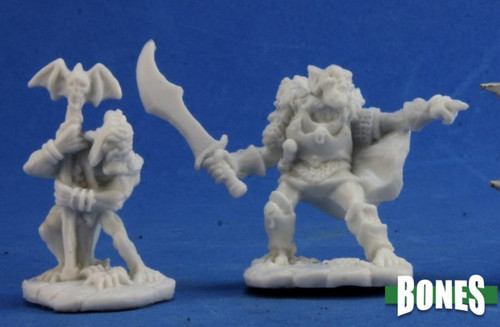 Image of Reaper's Goblin Command minis, front view