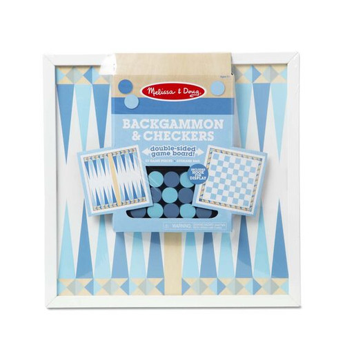 Backgammon & Checkers Blue wooden classics