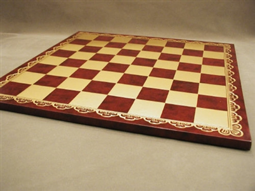 "Chessboard 18"" Pressed Leather Gold/Burgundy"