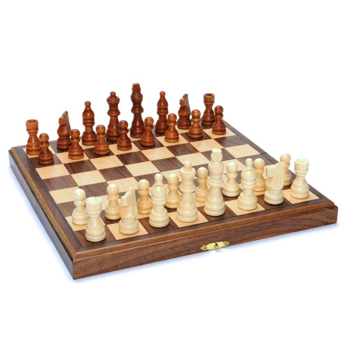 Chess Set Folding Wood 11""