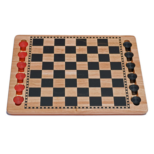 Checkers set black/red slots for pieces