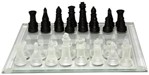 "Glass Chess Set 8"" board black/clear"