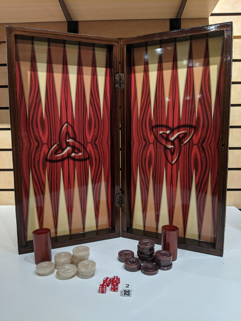 "Backgammon/Chess 19.75"" Red Grain Decoupage"