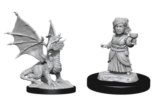 Silver Dragon Wyrmling & Female Halfling—D&D Nolzur's Marvelous Miniatures