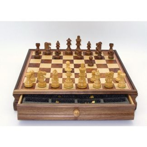 "Chess Set: 18"" Maple Chest w/ 3.75"" French Sheesham Chessmen (Sold Out)"