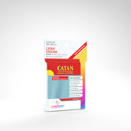 Catan Card Sleeves 60ct—Clear, 56x82mm (Color Code: Red)