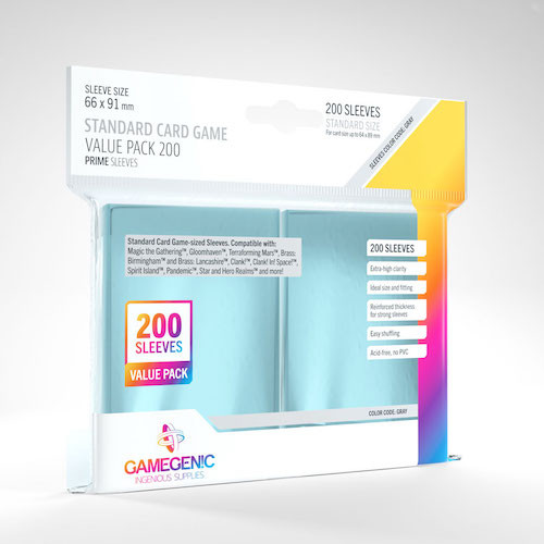Standard Card Sleeves 200ct—Clear, 66 x 91mm (Color Code: Gray)