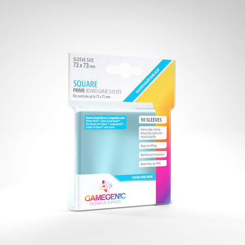 Square Card Sleeves 50ct—Clear, 73x73mm (Color Code: Blue)