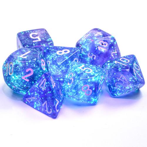 Borealis Luminary Purple & White Dice Set