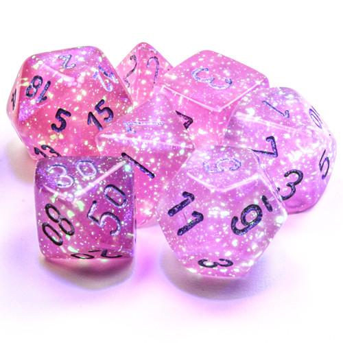 Borealis Luminary Pink/Silver  Dice Set
