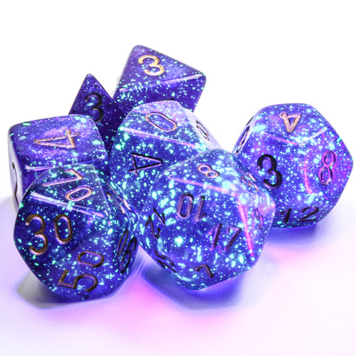 Borealis Luminary Royal Purple/Gold  Dice Set