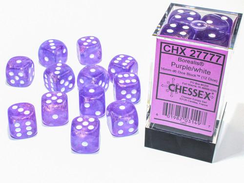 Borealis Luminary Purple/White Six-Sided Dice—Set of 12