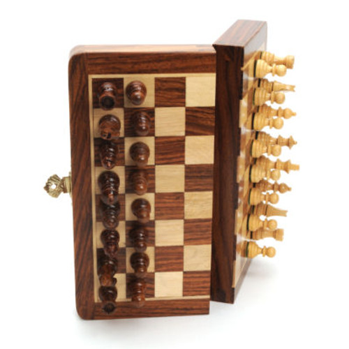 """Chess Set: Wooden Folding Magnetic 7"""""""