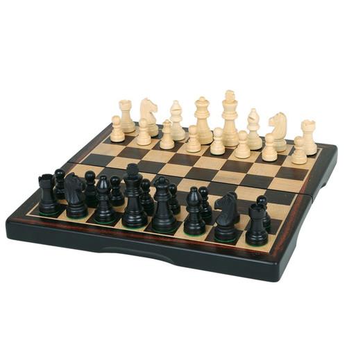 """Chess Set: 11"""" Folding Dark Wood, 3-in-1 Game Set"""