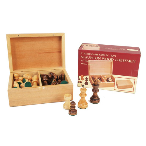 "Chessmen: 3"" Staunton Style with Wooden Storage Chest (Sold Out)"