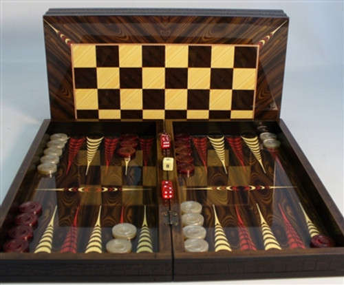"Chess Set: Combo 19.5"" Elegance Backgammon with 3"" Sheesham German men & checkers (Sold Out)"