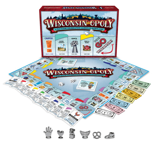 Wisconsin-opoly board, box, and pieces.