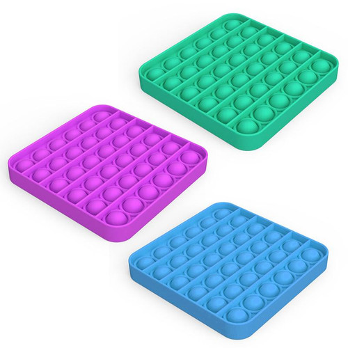 Square Pop Fidgety in three color choices: green, blue, purple.