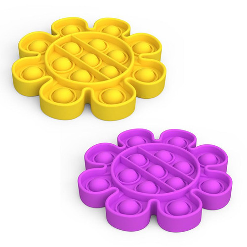 Flower Pop Fidgety in two color choices: yellow, purple.