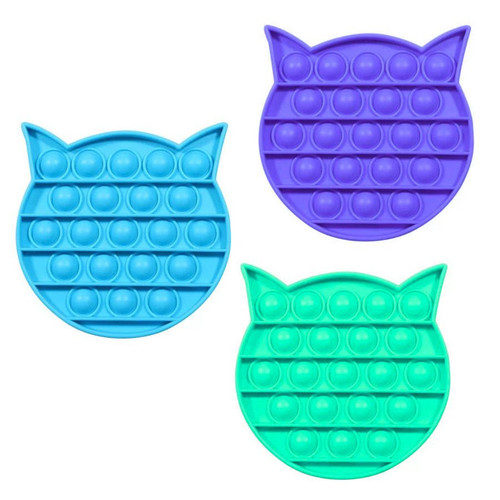 Cat (head) Pop Fidgety with three color choices: light blue, sea foam green, lavender/purple.