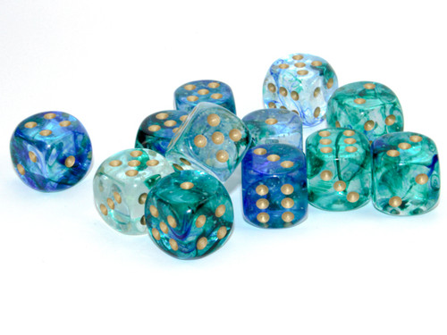 Nebula Luminary Oceanic/Gold Six-Sided Dice—Set of 12