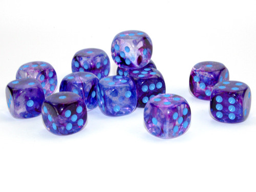 Nebula Luminary Nocturnal/Blue Six-Sided Dice—Set of 12