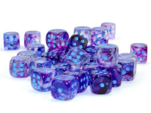 Nebula Luminary Nocturnal/Blue Six-Sided Dice—Set of 36