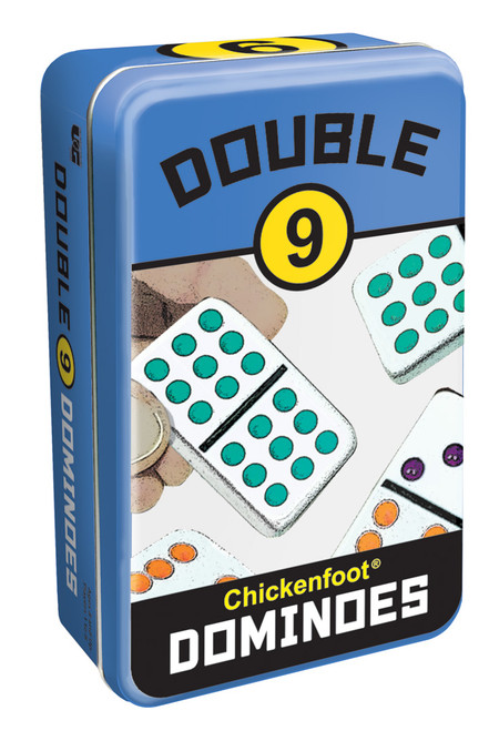 Double 9 Chickenfoot Dominoes—Storage Tin
