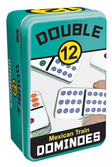 Double 12 Mexican Train Dominoes—Storage Tin