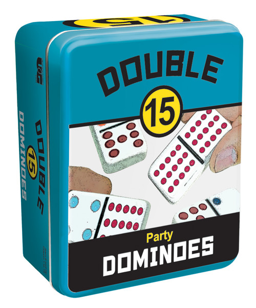 Double 15 Party Dominoes, Storage Tin