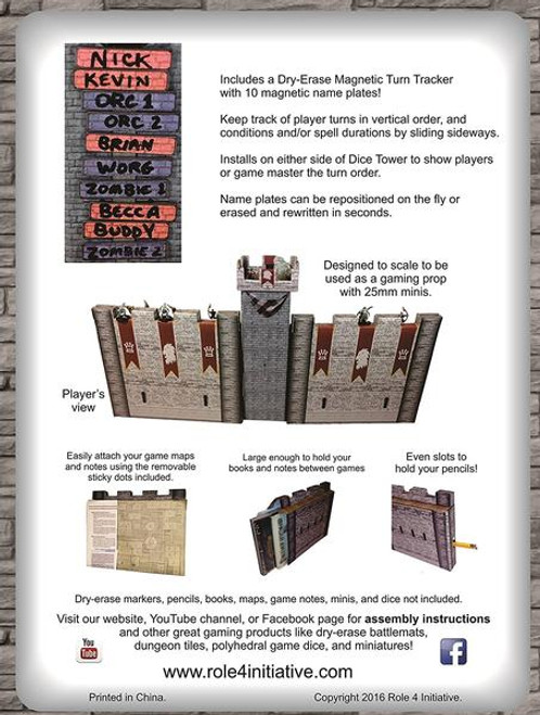 Castle Wall GM Screen with Dice Tower and Magnetic Initiative Turn Tracker back of box