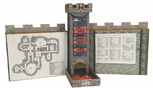 Castle Wall GM Screen with Dice Tower and Magnetic Initiative Turn Tracker GM's view