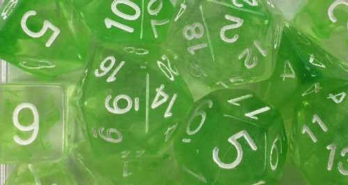 Slime Green Diffusion polyhedral dice close-up